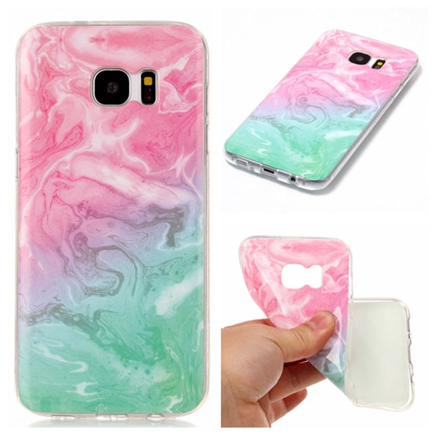 Pink Red Emerald Painting Case For Samsung Galaxy S7 Edge Marble Silicone Phone Cover For Funda Samsung S7 Edge Capinha Etui