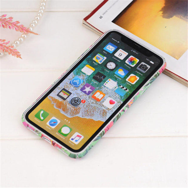 Pink Rose Flower Phone Case For Iphone 6 6s 7 Plus Colorful Plant Leaf Back Cover For Iphone X 10 8 8 Plus Hard Plastic Shell