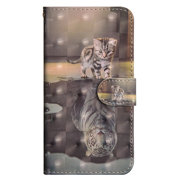 ProBefit For IPhone 7 8 5 6 6S X Plus 3D Vision Painted Cat Butterfly Gradient PU Leather+Silicone Case Flip Stand Wallet Cases