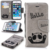 ProElite PU Leather Flip Stand Holder Case Silicone Back Cover For IPhone 5 5S SE Cute Cartoon Animal Panda Card Wallet Cases
