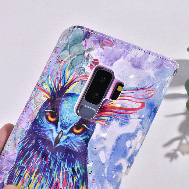 ProElite For Samsung S9 S8 Plus J5 J7 A6+ A8 2018 3D View Painted Animal Flower PU Leather+Silicone Case Flip Stand Wallet Capa
