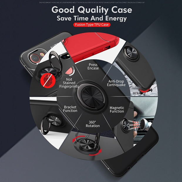 Reaoom Car Holder Case For OPPO F7 Back Cover Magnetic Kickstand Ring Coque Silicone Bracket Phone Case For OPPO F5 F7 F9 Funda