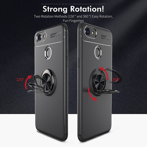 Reaoom Magnetic Phone Holder Case For OPPO F5 Back Cover With Ring Coque Original Silicone Bracket Case For OPPO F5 F7 F9 Cases
