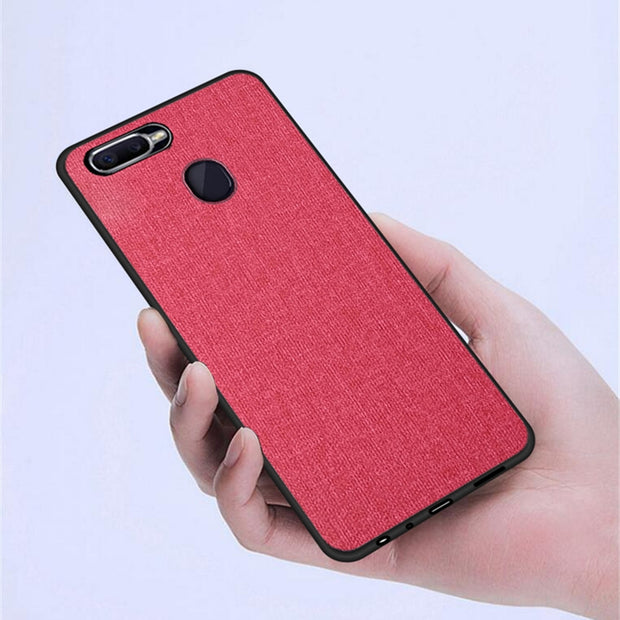 Rezzol For OPPO F9 Case Fabric Hybrid Hard PC Cover Case For OPPO F9 Pro 360 Protection Shockproof Fundas
