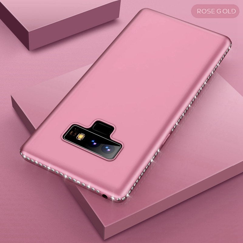 Rhinestone Case For Samsung Galaxy S7 Edge S8 Plus S9 Plus Note 9 Bling Matte Cover For Samsung Note 9 Galaxy S8 Note9 Coque