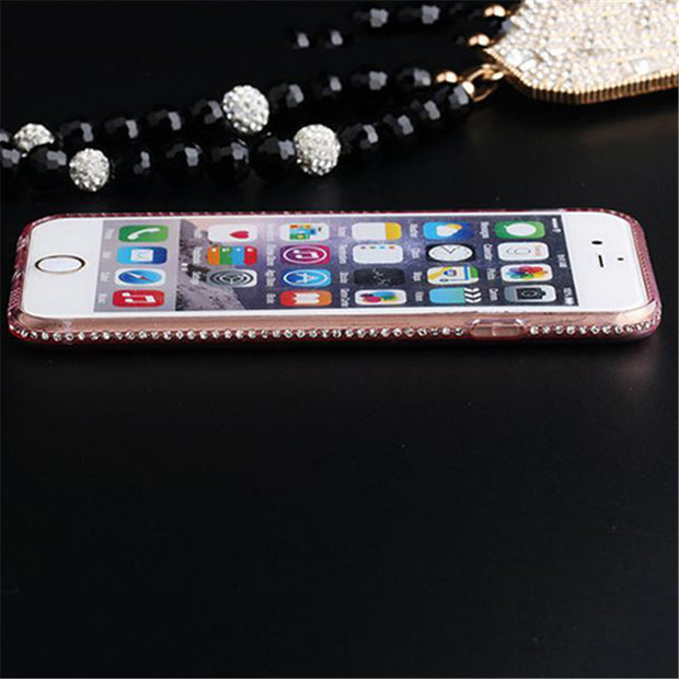 Rhinestone Ultra-thin Soft TPU Phone Case Cover For IPhone 5 5S 6 6S SE 7 Plus Transparent Mobile Phone Case