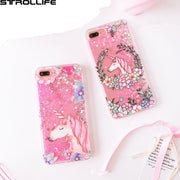 STROLLIFE Cute Cartoon Flower Unicorn Dynamic Liquid Quicksand Pink Sequins Glitter Phone Cases For IPhone 7 4.7inch Cover Coque