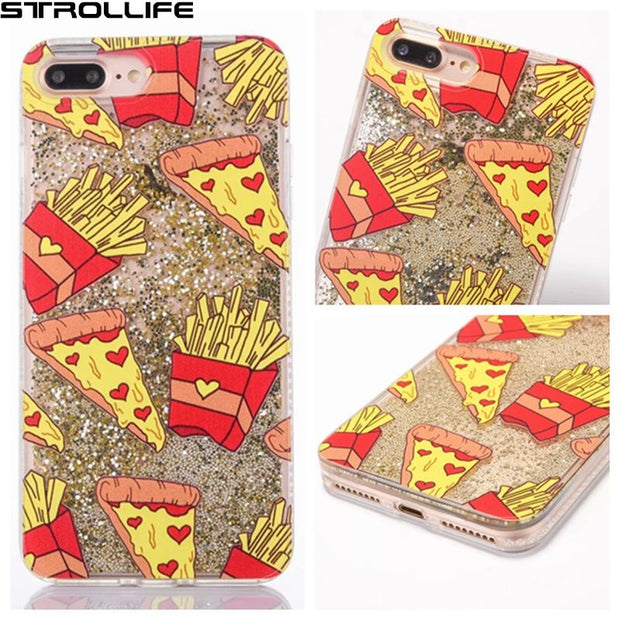 STROLLIFE Cute Cartoon Fries Dynamic Liquid Beads Glitter Phone Case For IPhone 7 4.7inch Clear Soft Frame Back Cover Capa Coque