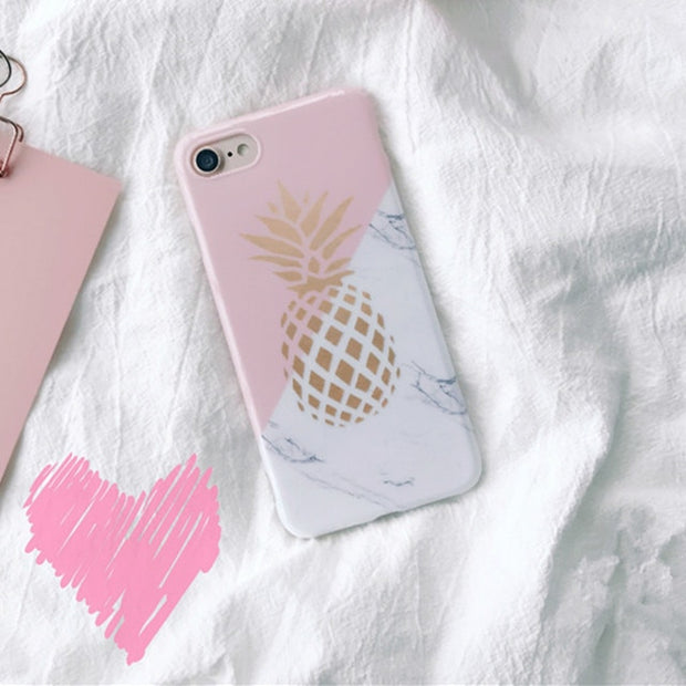 STROLLIFE Geometric Splice Marble Phone Cases For Iphone 7 Coque Cute Pineapple Soft Glossy Silicone Cover For Iphone 7 Capa