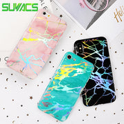 SUYACS Glossy Phone Case For IPhone 6 6S 7 8 Plus X XR XS MAX Hot Stamping Holographic Laser Marble Soft IMD Cases Cover Fundas