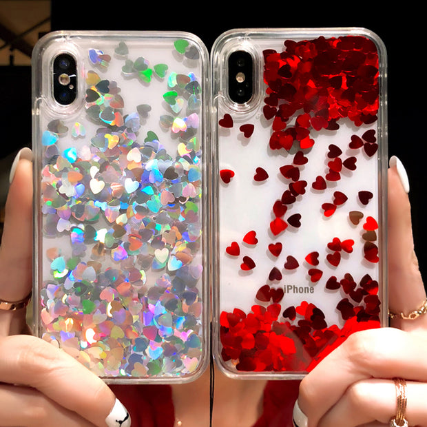 SUYACS Liquid Glitter Quicksand Love Heart Foil For IPhone 6 6S 7 8 Plus X XS MAX XR 5S SE Back Cover Transparent Soft TPU Case