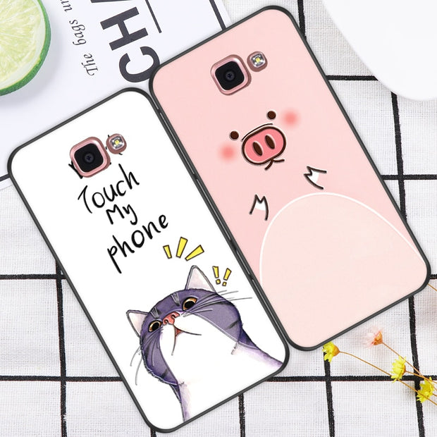 ShuiCaoRen Shockproof Silicone Case For Samsung Galaxy A9 Pro A9100 Cute Cartoon Cat Pig Phone Cover For Galaxy A9 2016 Cases