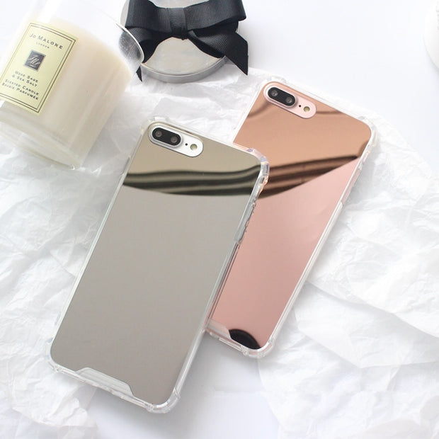 Simple Plating Shockproof Mirror Phone Cases For Iphone X 7 7Plus Shiny Silicon Case For Iphone 6 6s 6Plus 8 8plus