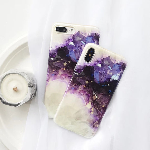 Simply Shell Pearl Phone Case For IPhone X 7 8 Shiny Plus Purple Crystal Texture For IPhone 6 6P