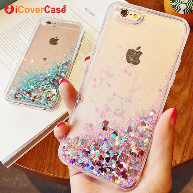 Soft Bling Love Star Cases For Apple IPhone 6 Plus 6Plus Case Cover Quicksand Liquid Cute Shell Etui Carcasas Coque For IPhone6