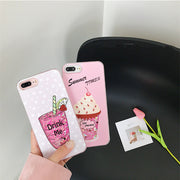 Summer Ice Cream Drink Dynamic Liquid Quicksand Glitter Sequins Phone Cases For IPhone 7 7Plus 6 6s Soft Edge Back Cover Coque