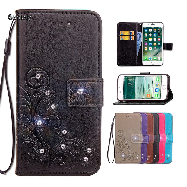 detailed look 07e08 f3ae2 Sunjolly For Asus Zenfone 3 Zoom ZE553KL Case Grass Rhinestone Flip Card  Wallet Holder Cover Coque For Zenfone 3 ZOOM ZE553KL