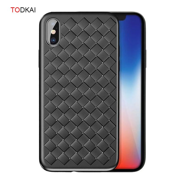TODKAI Phone Case For Iphone X 8 7 Plus Case Silicone TPU Woven Leather Cute Back Cover Cases For IPhone X 6 6s Plus Case