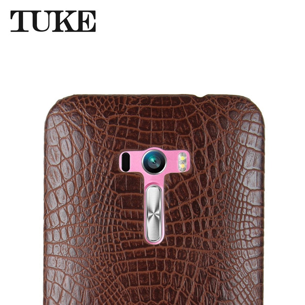 TUKE Crocodile Pattern Case For Asus ZD551KL Hard PC Back Cover For Asus Zenfone Selfie ZD551KL PU Coque For Asus Selfie ZD551KL