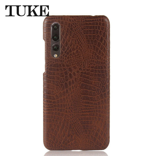 TUKE Crocodile Pattern Case For Huawei P20 Pro Hard PC Back Cover For Huawei P20 Plus Coque For Huawei P20pro Leather Funda Etui