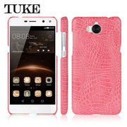 TUKE Crocodile Pattern Case For Huawei Y5 2017 Hard PC Back Cover For Huawei Y5 2017 Mya-u29 Leather Coque For Y5 2017 Huawei