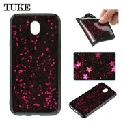 TUKE For Galaxy J7 2017 J730 SM-J730F Case Glittery Epoxy Star Sequins Powder TPU Flexible Shell For Samsung Galaxy J7 2017 Case