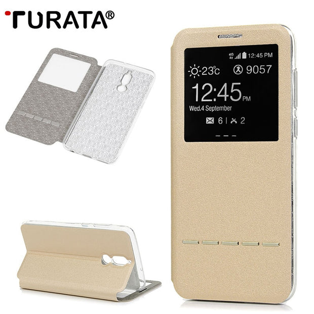 TURATA Phone Case For Huawei Mate 10 Lite Leather + Soft TPU View Window Flip Case Cases Cover For Huawei Mate 10 Lite Cases