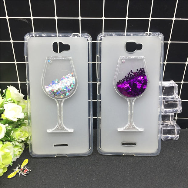 Thick Dynamic Liquid Phone Cases For Lenovo S856 Heart Glitter Sequins Soft Silicon Back Cover Sand Capa Cup