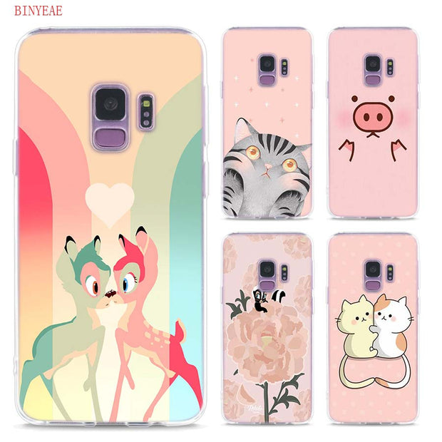 new concept 8e065 97148 Transparent Soft Silicone Phone Cases Kawaii Animal Bambi Cat For Samsung  Galaxy S9 S8 Plus S7 S6 S5 S4 Mini Edge
