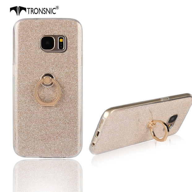 Tronsnic Soft Phone Case For Samsung S7 Shiny Powder Case With 360 Buckle Ring Cover Pink Gray Gold Blue Hot Fashion Metal Stand