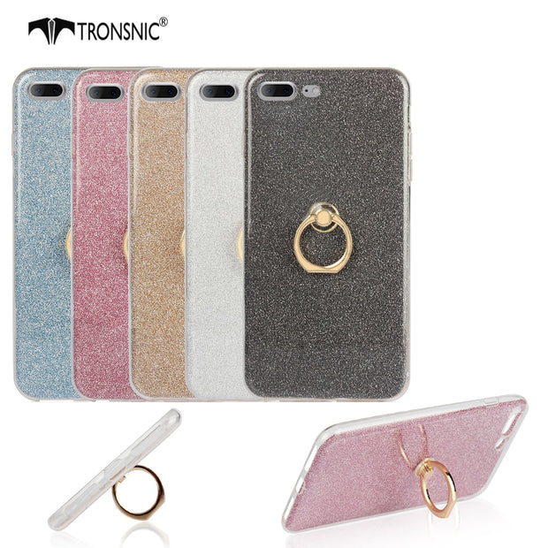 Tronsnic Soft Phone Case For IPhone 8 Plus Shiny Powder Case For IPhone 7 7 Plus Buckle Ring Cover Pink Gray Fashion Metal Stand