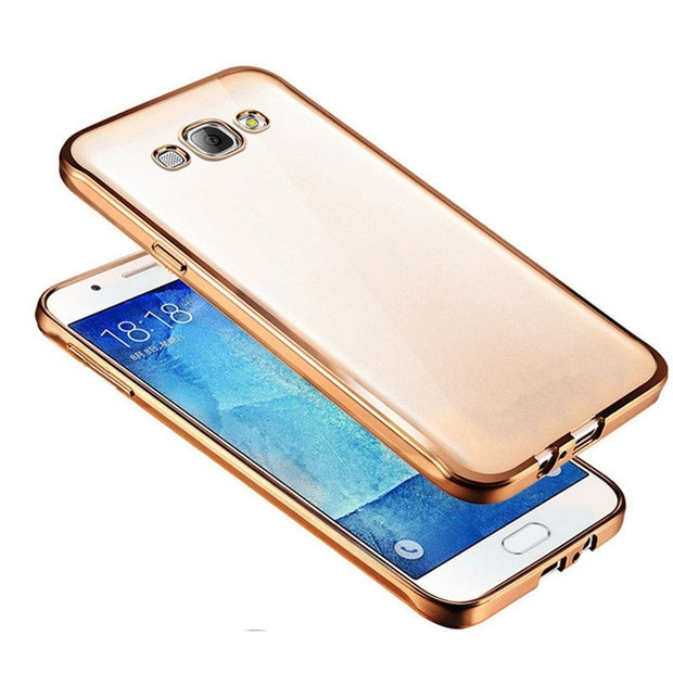 Ultra Thin Plating Soft TPU Clear Case For Samsung Galaxy J1 J3 J5 J7 A3 A5 A7 A8 2016 2017 Pro G7106 Luxury Silicone Cover Capa