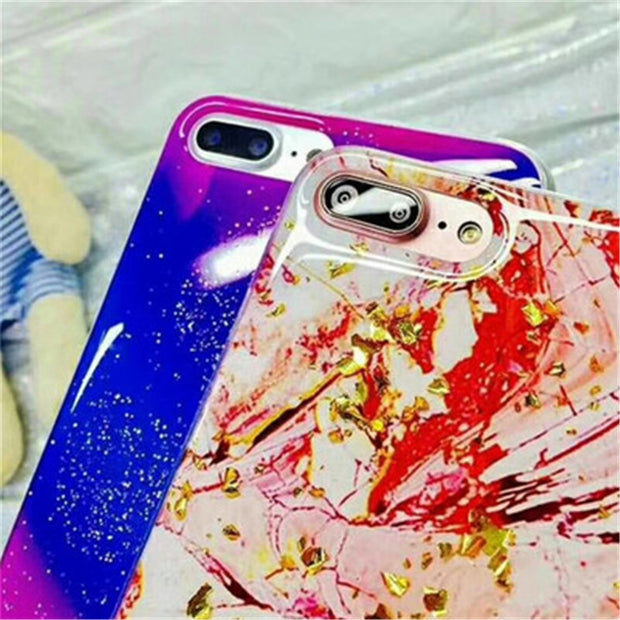 Ultrathin Durable Glitter Bling Gold Powder Phone Case For IPhone X Marble Silicon Back Cover Soft Case For IPhone 6 6S 7 8 Plus