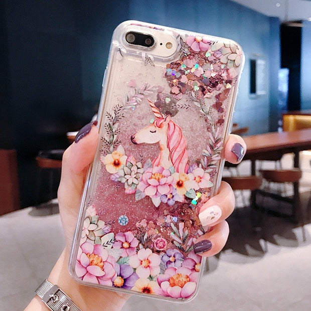 Unicorn Flamingo Quicksand Case For Samsung Galaxy A7 2018