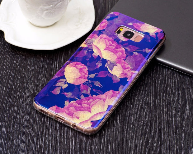 VCK Fashion Blue Light Girl Glitter Flowers For Samsung Galaxy S8 S8 Plus Phone Case Flower Women Soft TPU Cover