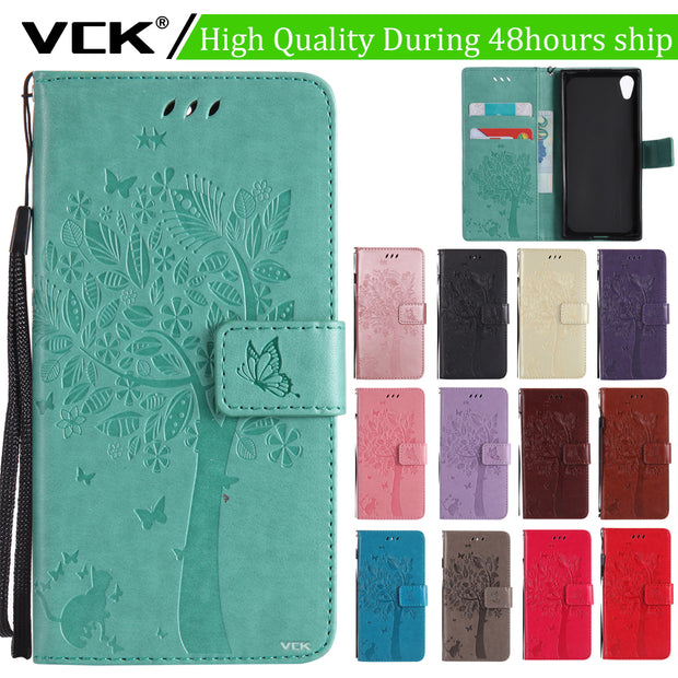 VCK For Google Pixel 2 Pixel 2 XL Tree Butterfly Printed Pattern Leather Case TPU Cover Shell Wallet Bag