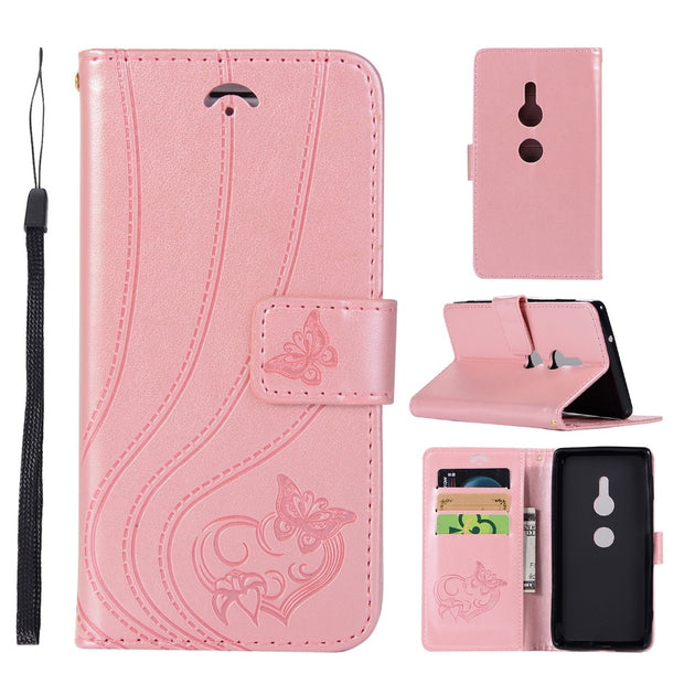 VCK For SONY Xperia XZ1 XZ2 XA2 XA1 Compact Mini Leather Wallet Silicone Flip Phone Case Cover 3D Butterfly Flower