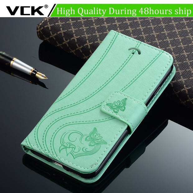 VCK For Samsung Galaxy J5 J3 A3 A5 A7 A8 J4 J6 S7 S8 S9 Edge Plus 2016 2017 2018 Leather Wallet Silicone Flip Phone Case Cover