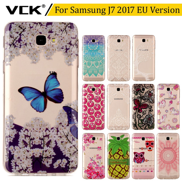VCK Ultra Thin For Samsung J7 2017 EU Version J730 Pattern Printing Soft Gel Slim Silicone Transparent Clear TPU Case Cover