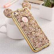 YHCSZ Cute 3D Mouse Ear Soft TPU Rubber Gel Luxury Bling Case Cover For IPhone 6 6s 7 8 Plus X