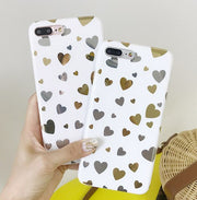 YHCSZ Gilding Lovely Heart Soft Silicone Full Back Case For Iphone 6 6s 7 8 Plus X