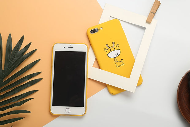 YHCSZ Hard PC Yellow Cartoon Giraffe Phone Back Case Cover For Iphone 6 6s 7 8 Plus