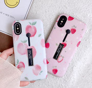 YHCSZ Ring Holder Stand Hybrid Hard Peach Strawberry Phone Case For Iphone 6 6s 7 8 Plus X