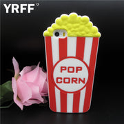 YRFF Cartoon 3D Popcorn Case For Iphone 5 5S SE 6 6S 7 Plus Fundas Silicon Back Cover For Iphone 5S 5 7 6 6s Plus Phone Cases