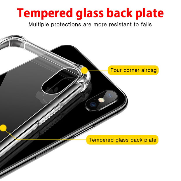 [Year-end Clearance] For IPhone X Luxury Transparent TPU Full Back Cover Case For IPhone X Tempered Glass Anti-Knock Airbag Case