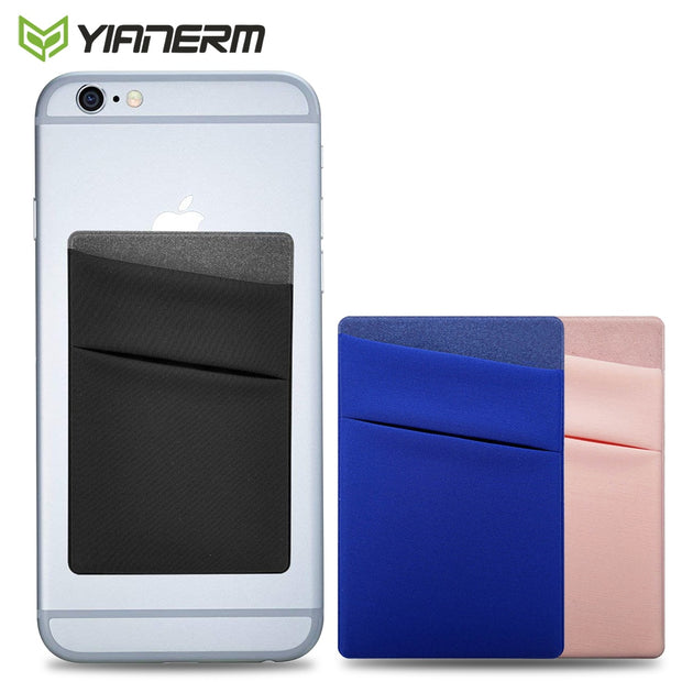 reputable site 72f5b b12fb Yianerm Phone Case Back Card Pocket Accessory Dual Layer Elastic Lycra  Phone Back 3M Wallet Sticker For IPhone,Samsung,Xiaomi