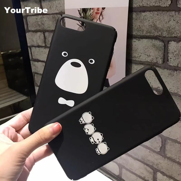 YourTribe Phone Case For IPhone 8 7 7 Plus X Cute Cartoon Black Panda Hard PC Cases Cover For IPhone 6 6S Plus 8 7 6 6S X CASE