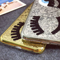 Fashion Brand Chiara Ferragni Bling Glitter Powder For IPhone X 10 6 6s 7 8 Plus Cover 3D Big Eye Eyelashes Plating Phone Case