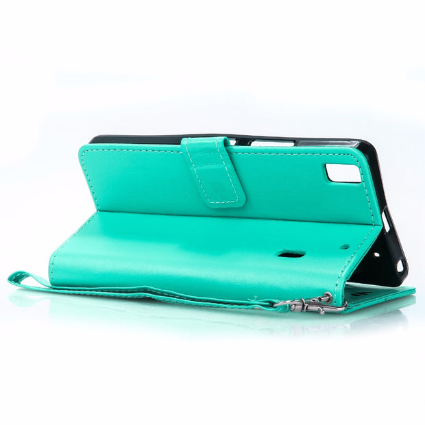 For Lenovo A1000 Case Cover For Lenovo A1000 Leather Flip Case Cover Green Bronzing Butterfly Coque For Lenovo A1000
