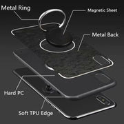 For Iphone XS MAX Case 360 Rotatable Ring With Car Phone Holder Hard Back Case For Iphone 6 6s 7 8 Plus X XS XR Phone Stand Hold